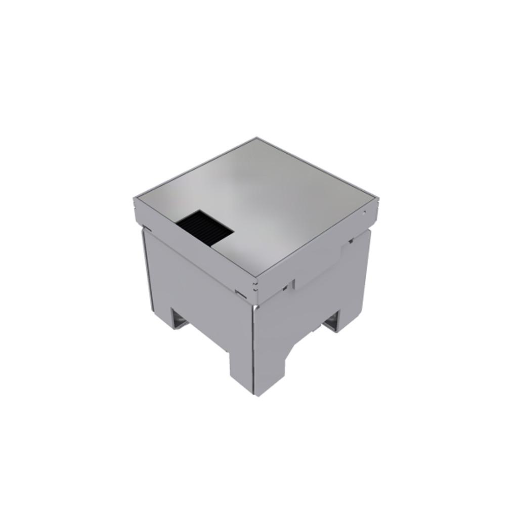 Unterflur-Bodendose 100/100 geschliffene Chromstahlabdeckung