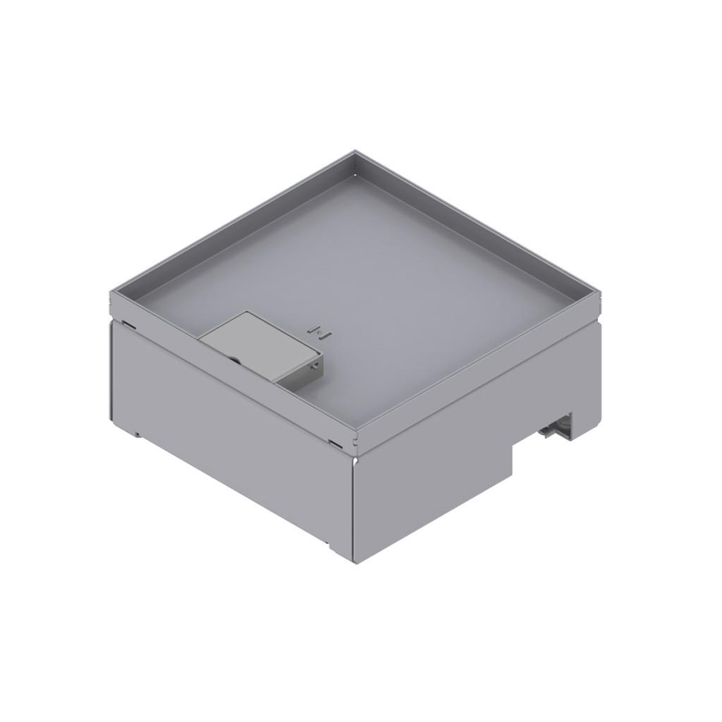 Unterflur-Bodendose 210/210, Chromstahl mit Schnurauslass, Tiefe 15 mm