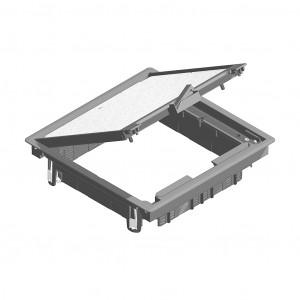 Klappdeckel quadratisch Teppichrand grau RAL 7011