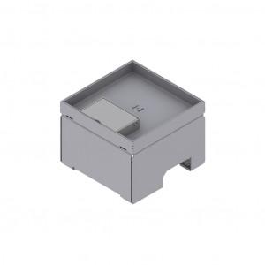 Unterflur-Bodendose 130/130, Chromstahl mit Schnurauslass, Tiefe 15 mm